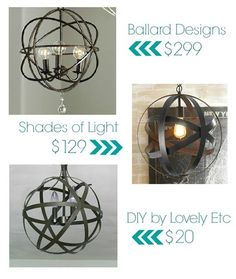 DIY orb chandelier for less...way less! All you need is $20 and 1 hour!