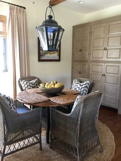 Decorating a Difficult Space–Part III-Solving the issues and Sources : cupboards painted with Amy Howard Java-Cindy Hattersley Design-Rough Luxe Lifestyle Family Room Design, Casual Home, Rough Luxe, Neutral Decor, Fall Decor Inspiration, Home, Dining, Interior, Room Inspiration