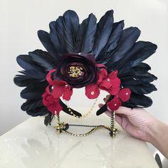 Rave feather headdress Dia De Los Muertos Black & by JrPastiesLove
