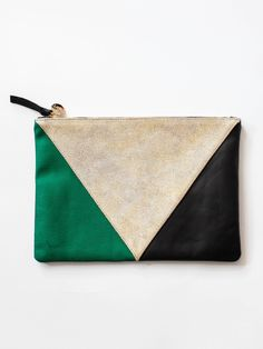 Clare V Flat Clutch - Navy/Gold/Green Patchwork
