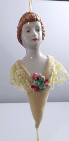 Vintage Porcelain Victorian Lady Bust Christmas Ornament With Lace And Flowers