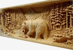 Incredible relief carving; carved-mantel-bear