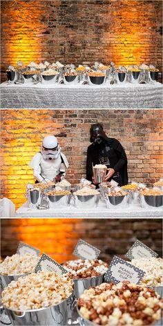 Popcorn bar served by darth vader and storm trooper @weddingchicks