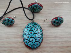 Items similar to Iznik Tile earrings, pendant and ring jewelry set. on Etsy Jewelry Art, Jewelry Rings, Unique Jewelry, Jewellery, Polymer Clay Pendant, Islamic Art, Ring Earrings, Ceramic Pottery, Crafts To Make