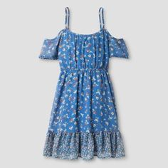 Girls' Cold Shoulder Dress - Art Class Allure Blue XL, Size: XL(14-16)