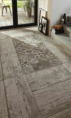 Love this tile for the shower. can frame it in white washed wood tile on one wall and just have white washed wood on the other wall with the darker shade of wood on the floor continuing into bedroom. Decor, House Design, Tiles, Floor Design, Deco, House Styles, House Interior, Home Deco, Flooring