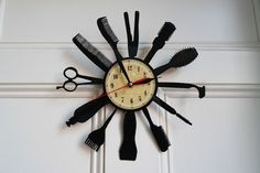 Barber Shop design vinyl record wall clock