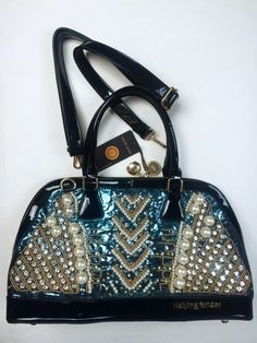 NWT $500 Haiying Snider Gold Teal Black Patent Leather Rhinestone HandBag Purse #NinaPerry #Handbag