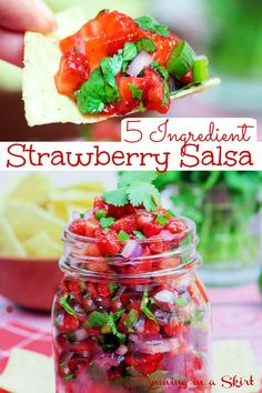 Strawberry Salsa recipe- Only 5 Ingredients! The best fresh Fruit Salsa with berries, jalapeno, lime, cilantro and red onion. Serve this healthy, clean eating, easy and simple recipe with tortilla chips, with cinnamon chips, fish tacos, chicken or salmon or as a topping for fish like mahi mahi. Delicious Mexican flavors! Gluten Free, Vegetarian, Vegan, Dairy Free / Running in a Skirt #fruitsalsa #strawberry #salsa #mexican #5ingredientrecipe Tortilla Recipe, Salsa Recipe, Tortilla Chips, Easy To Make Appetizers, Yummy Appetizers, Appetizer Recipes, Strawberry Salsa, Fruit Salsa, Easy Party Food