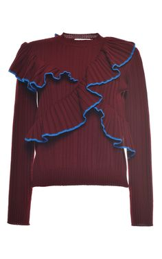 MSGM | Red Bordeaux Ruffled Rib Stitch Knit Crewneck | Lyst