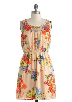 Pretty in Posies Dress - Mid-length, Tan, Multi, Floral, Casual, A-line, Sleeveless, Scoop, Spring