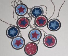 10 Primitive Americana July 4 Patriotic Hang Tags Gift Ties Mini Tree Ornaments