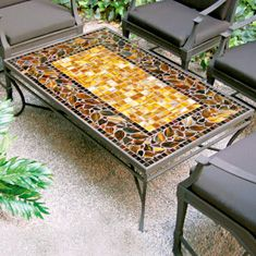 Neille Olson Honey Ivy Fine Mosaic Tabletops, shown in Coffee Table Mosaic Pots, Pebble Mosaic, Mosaic Garden, Mosaic Glass, Mosaic Tiles, Stained Glass, Mosaic Designs, Mosaic Patterns, Tile Tables