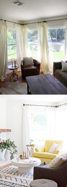 Reforma de salón con blanco, negro y mostaza
