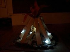 Mock campfire for our campout @ the library