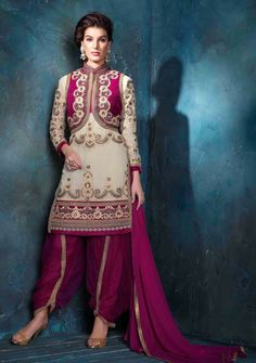 Cream Designer Punjabi patiala suit in georgette
