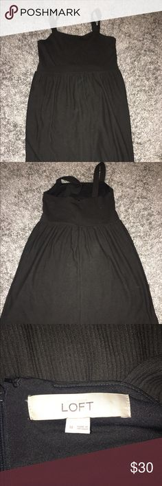 LOFT black cotton ribbed empire waist dress Worn once. zipper up back. No flaws. Great ribbed material. NO TRADES LOFT Dresses Midi