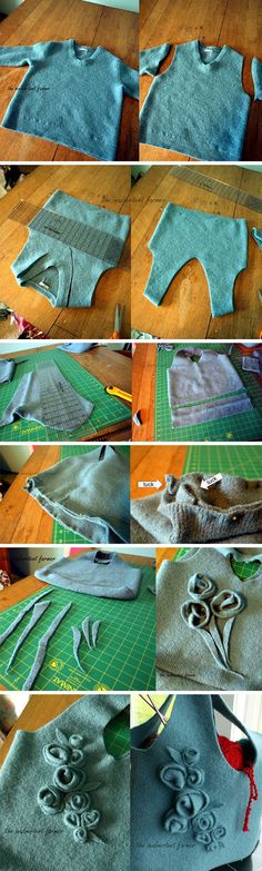 A felted bag without the felting.  Great recycling project!