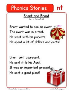 Using this Brent and Brant NT Phonics Reading Comprehension Worksheet, students build their reading comprehension and phonics skills while reading words featuring NT. First Grade Reading Comprehension, Phonics Reading, Reading Comprehension Worksheets, Phonics Worksheets, Teaching Reading, Phonics Cards, Reading Words, Reading Passages, Reading Tips
