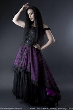 Purple Clarisa Stunning Lace Fishtail Gothic Skirt