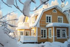 Pretty barn house in Finland. Villa, Yellow Houses, Second Empire, Old Farm Houses, House Goals, Scandinavian Interior, House In The Woods, House Colors, My Dream Home