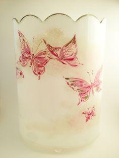 vintage lucite wastebasket , pink butterflies wastebasket ball