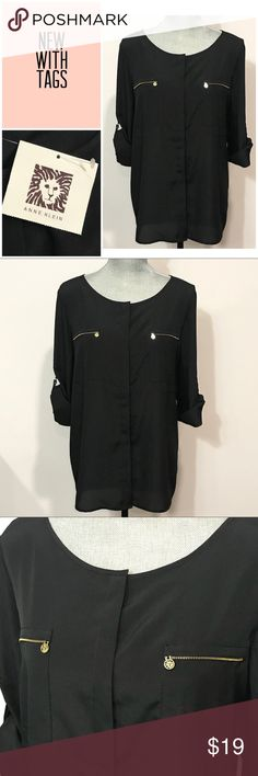 """🎁SALE NWT Anne Klein Black Button Blouse Large NWT Anne Klein two pockets Black button Blouse - size Large - classic and elegant! A must have design.   New with Tags Size Large 100% Polyester  Approximate measurements: Length 28"""" Width 21""""   ✅All items in my closet are either NEW or in excellent condition - any signs of wear are minimal, if any, and will be detailed in pictures and under the listing description. ✅ Items come from a very clean and smoke free home.  ✅Make me an offer and shop…"""