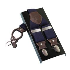 Kangdai Mens Suspenders Braces Casual Brace High Quality Leather Suspenders Adjustable 4Clip Suspenders StrapMCY401