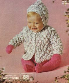 Baby Knitting PATTERNS - Winter Outfit, Hooded Jacket/Pram Coat/Sweater, Mitts, Leggings/Longies 18-19 ins