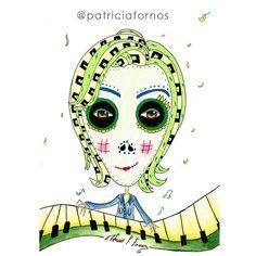 Pianist skull art by patricia fornos