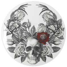 Skull, rose, and antlers.