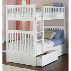Twin Bunk Beds for Girls Bedrooms - For more Awesome Bunk Bed Ideas take a look at HomeIZY.com!