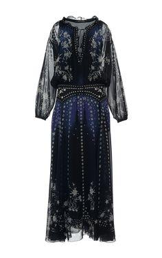 M'O Ramadan Curated Trunkshow: Star Printed Silk Georgette Long Dress by Roberto Cavalli   Moda Operandi