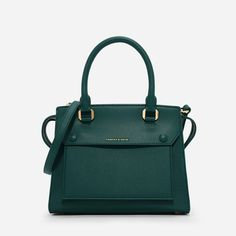 CHARLES & KEITH Green Structured Top Handle Bag (Top Design Bags)