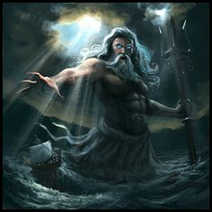 Character: Poseidon is known for having a huge trident with him all the time as a weapon. He is the god of the sea, and also the god of earthquakes, tsunamis, and other natural disasters. His features include: six-pack abs, long grey beard, and long grey hair, similar to Zeus.