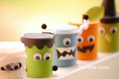 Monster decorating idea for a birthday party! can use the formula milk cans.