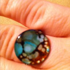 Turquoise and brown mother of pearl shell ring. Customized and sized for you!!! www.originalstiles.com