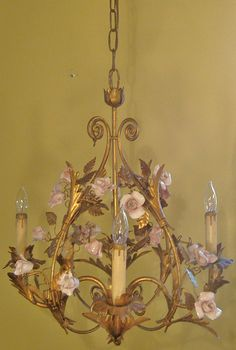 Idea vintage chandolier hanging porcelain roses