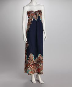 Take a look at this Blue Feather Strapless Maxi Dress by GLAM on #zulily today! $19