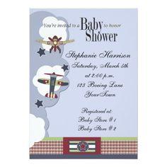 Airplanes Baby Boy Shower Invitation
