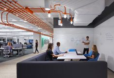 Studio BV designed the offices of Field Nation, an online marketplace of IT service providers, located in Minneapolis, Minnesota. The Field Nation Office Space Design, Workplace Design, Office Spaces, Smart Office, Open Office, Office Carpet, Office Floor, Commercial Office Design, Minneapolis