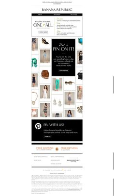 Banana Republic integrates Pinterest into an email featuring most-PInned styles.