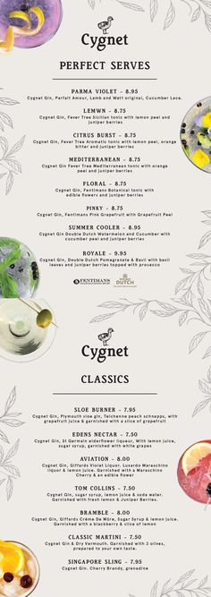 Menu design for Cygnet Gin Drink Menu Design, Parma Violets, Pop Up Bar, Gin Bar, Leaflet Design, Gin And Tonic, Spring Recipes, Prosecco, Distillery