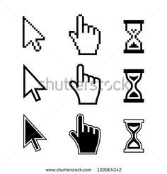 pixel cursors icons mouse hand arrow hourglass vector illustration - Halloween Tumblr Cursors