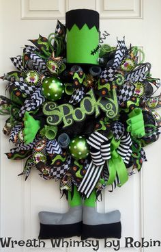 XL Halloween Frankenstein Deco Mesh Wreath, Fall Wreath, Halloween Decor, Monster Wreath, Spooky Wreath by WreathWhimsybyRobin on Etsy