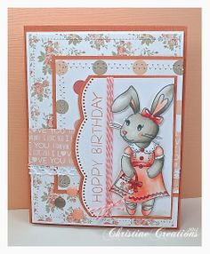 ChristineCreations: Reverse Confetti Bebe Bunny stamp set. Birthday card. Spring card. Easter card.