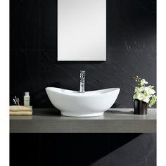 Fine Fixtures Modern Vitreous Large Oval Vessel Sink Vessel Bathroom Sink with Overflow