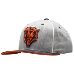250b3308b18d1e Chicago Bears Youth Grey and Navy Angry Bear Logo Microfiber Snapback Hat
