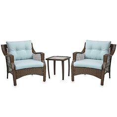 3 Piece Outdoor Patio Wicker Furniture Set With Deep Seat Cushions (Light Blue)