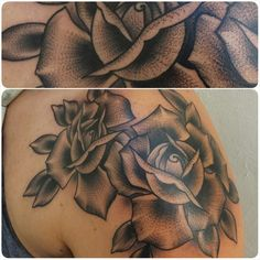 Black and gray roses by Chong Tramontana- Full Circle Tattoo - San Diego, CA. #fullcircletattoo